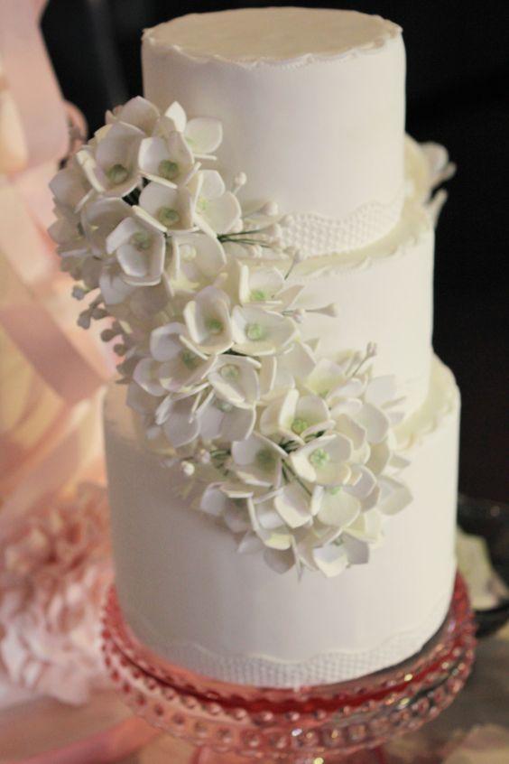 White hydrangeas cake by Sweet Bloom Cakes