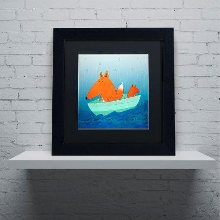 Trademark Fine Art Fox in a Boat Canvas Art by Carla Martell, Black Matte, Black Frame, Size: 16 x 16