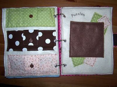 Puzzle pages: the three pockets have the pieces to three different puzzles, and the other page is for them to put the puzzles together.