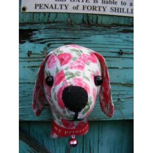 Fake taxidermy , shabby chic, pink blown roses country house, Dog trophy head.