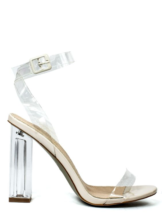 Mercy strappy sandal with clear straps and heel   Sandals Block
