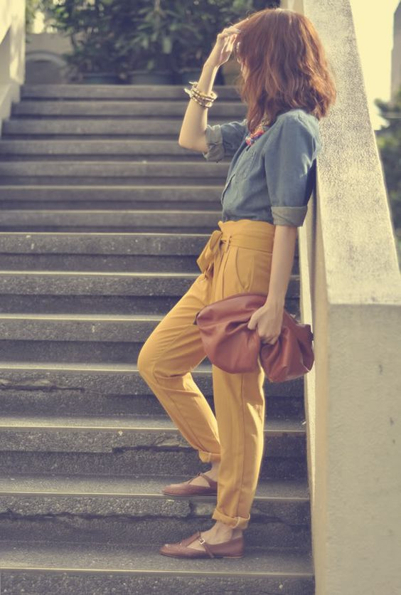 mustard pants, chambray and brown accesories