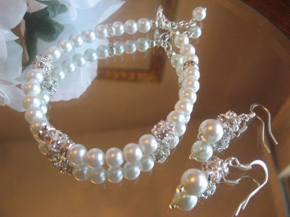 Pearl Jewelry Set  Crystal and Pearl Bracelet by luminajewelstoo, $18.00