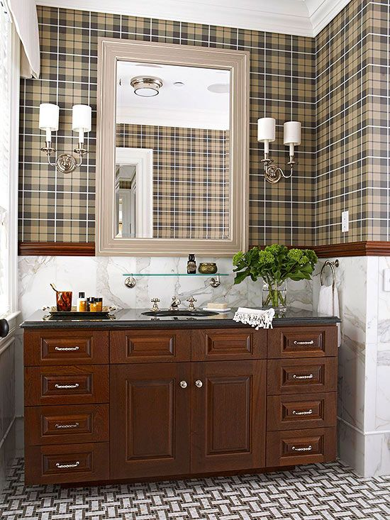 "Rich mahogany adds a ""preppy"" touch to this beautiful bathroom. For more bathroom ideas: http://www.bhg.com/bathroom/decorating/traditional/classic-bathroom-design-makeover/?socsrc=bhgpin090413classicbathroom=1:"