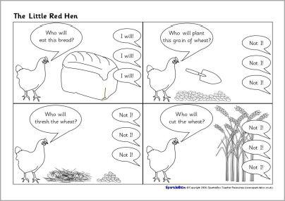 Little Red Hen sequencing sheets (SB2037) - SparkleBox | Prek/K ...