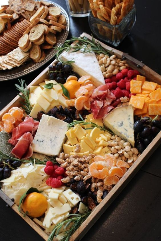 A more sophisticated option, a basic fruit and cheese platter packs a lot of flavor onto this  Appetizer, Cheese and Fruit Tray.