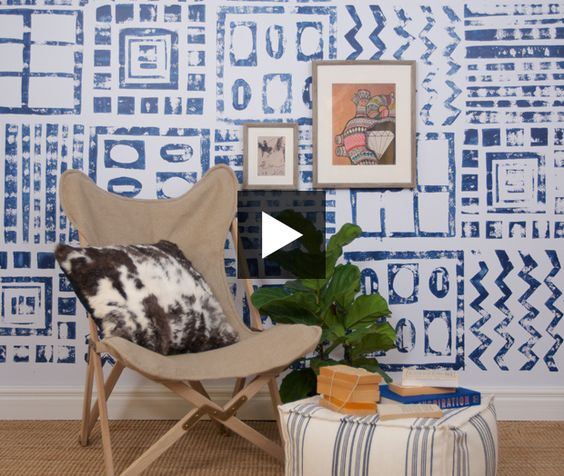 Giant stamped wall — yay or nay? Would you try this graphic wall paint treatment in your own home? Tell us what you think!  See how Reiko Caron created this look in our NEW video >> http://bit.ly/hhtv-ep244-graphicwall   #paint #diy #graphic #stamp #handmade #painttreatment #wall