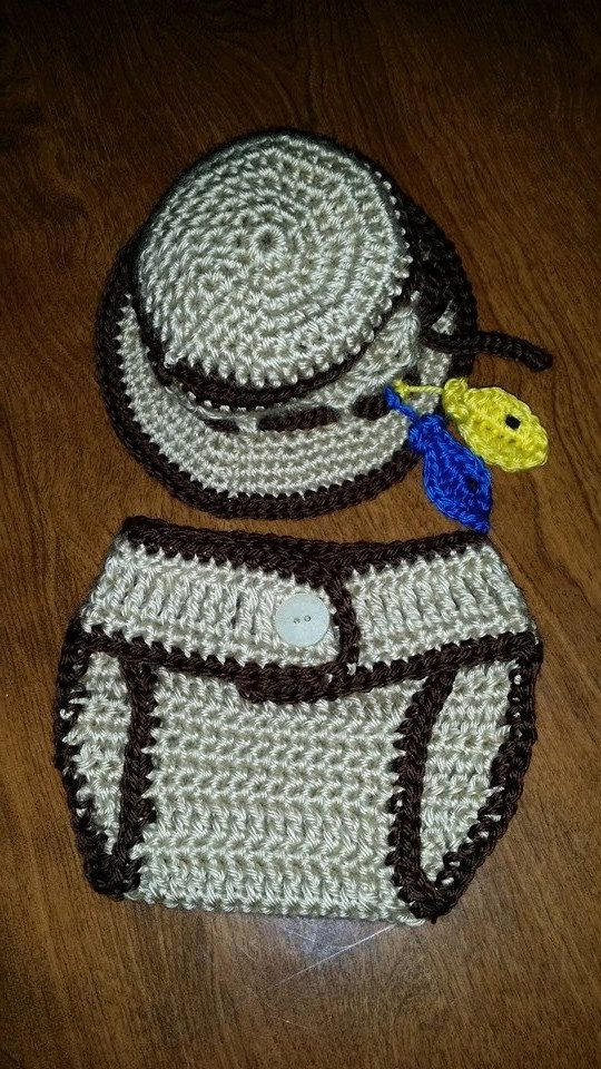 Baby boy diaper cover and fishing hat by LoveAffairOfYarn on Etsy, $16.95