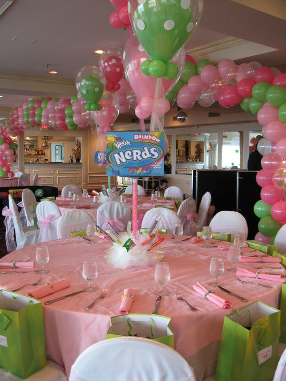 Candy themed centerpiece balloon decor pinterest