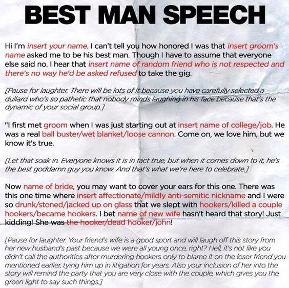 Bestman Speech At Wedding Best Man Speech Funny Wedding Speeches Wedding Speech