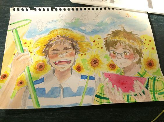 前描いた 小学生っぽい 充洋と真也です  夏のとき #黒バス #早川充洋 #中村真也 #夏
