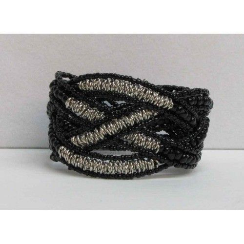 Bracelet extensible noir et argent.