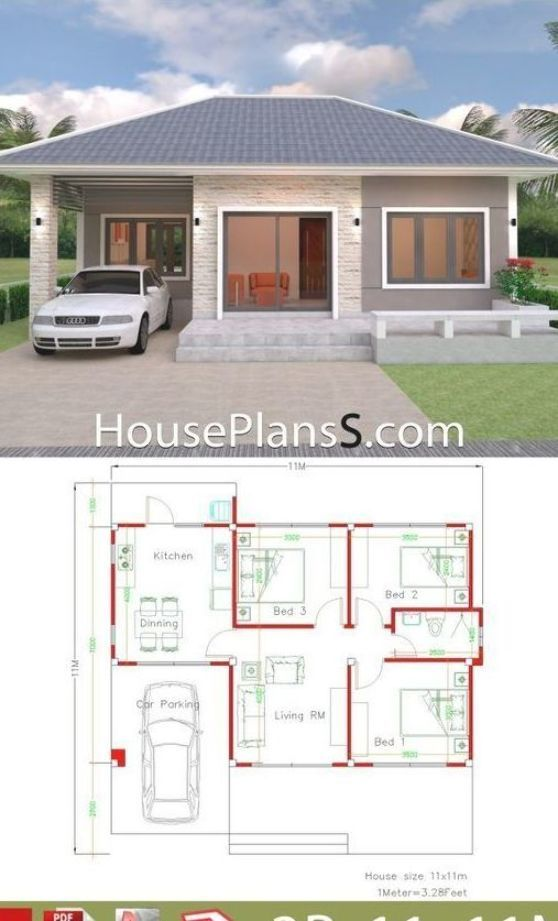 Simple House Design Plans 11x11 With 3 Bedrooms Full Plans House Plans Sam Simple House Design Simple House Plans Simple House Design of simple house plan