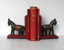 Vintage Horse bookends, Red and Black, Home Decor, Office accessory, gift idea