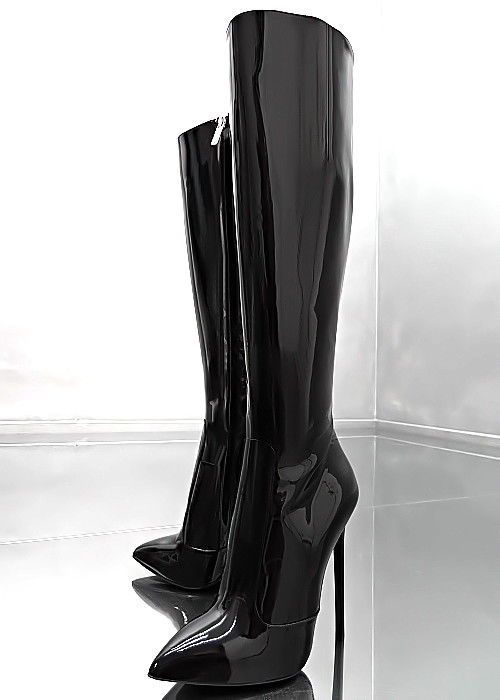 Neu Leder 1969 Italy Lack Stiefel B5 Damen Hohe Schwarz zGqSpMVUL