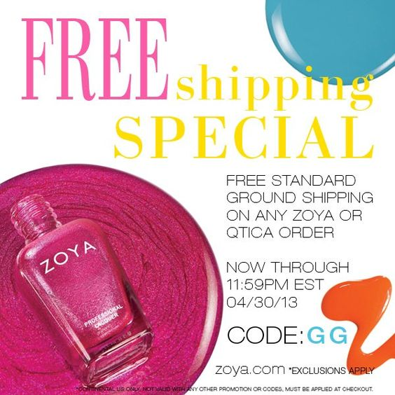 Free Zoya shipping until end of April 2013.