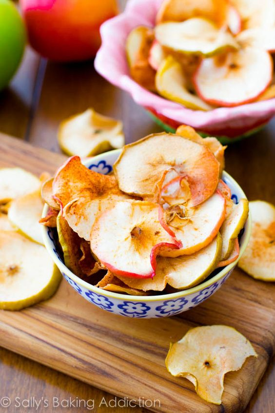 Easy baked apple chips.  Sprinkle thin apple slices with cinnamon and sugar, then bake at 200 degrees for one hour, then flip over and bake another hour to hour and a half.  Turn oven off and let cool in the oven for another hour.