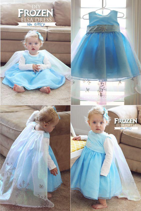 DIY Frozen Baby Elsa Dress. Perfect for your littlest princess #halloween #frozen