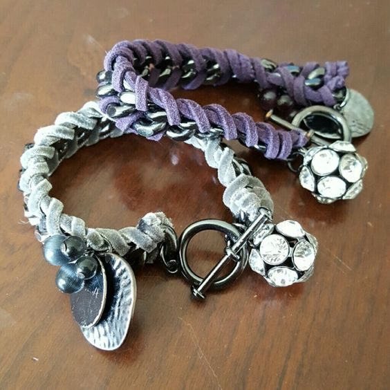 2x  Chain Bracelets Grey/Purple 2x Bracelets Grey and Purple from Macy's GUC some signs of wear. Macy's Jewelry Bracelets