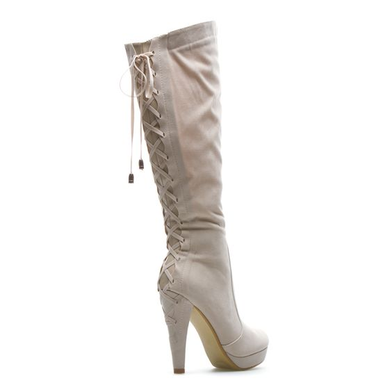 {the Milana boot} hello sexy lace-up back! love the nude colour, too.
