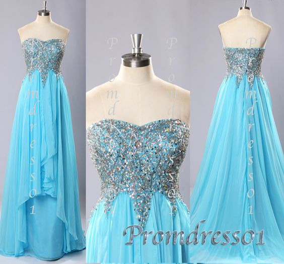 2015 cute sky blue sweep train sparkly sweetheart beaded chiffon modest prom dress for teens, elegant ball gown, evening dress, homecoming dress #promdress #coniefox
