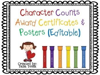 This product includes award certificates for each of the 6 pillars of good character.  As well, there are posters which can be displayed in your classroom or around your school campus. There are two different versions of each certificate and poster.  In addition, there are editable versions of each certificate as well as versions that can simply be printed should you need to hand write an award for a student.