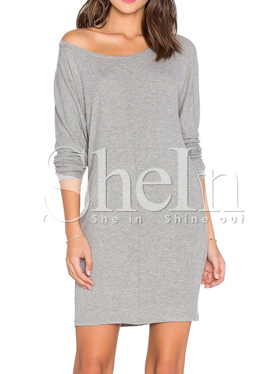 Grey Long Sleeve Round Neck Casual Dress 11.99