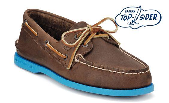 Sperry Top-Sider Cloud Logo A/O 2-Eye Boat Shoe (Dark Brown Leather/Blue)