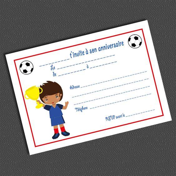 8 Cartons d'invitation Anniversaire FOOTBALL