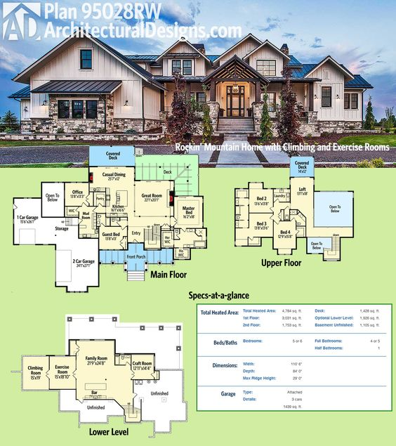 Plan 95028rw rockin 39 mountain home with climbing and exercise rooms decks house and design - Semi basement house plans multifunctional spaces ...
