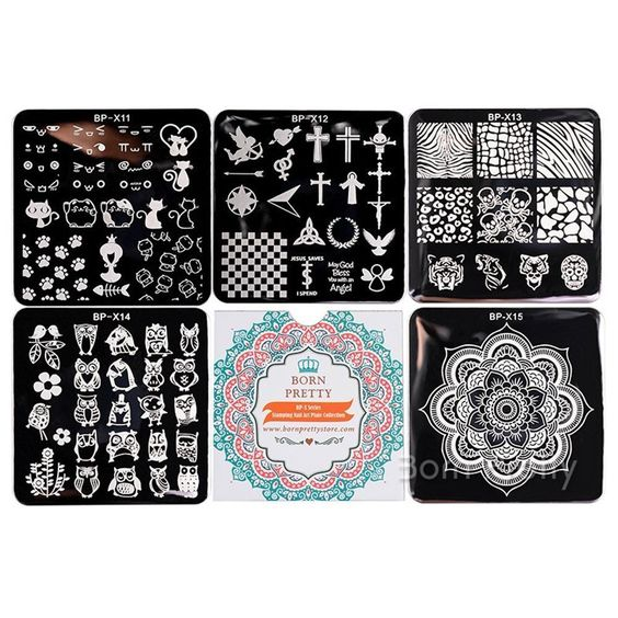 Born Pretty 5Pcs set 66cm Square Nail Art Stamp Template Image - stamp template
