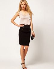ASOS Bengaline Pencil Skirt With Double Zip