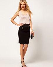 ASOS Bengaline Pencil Skirt With Double Zip