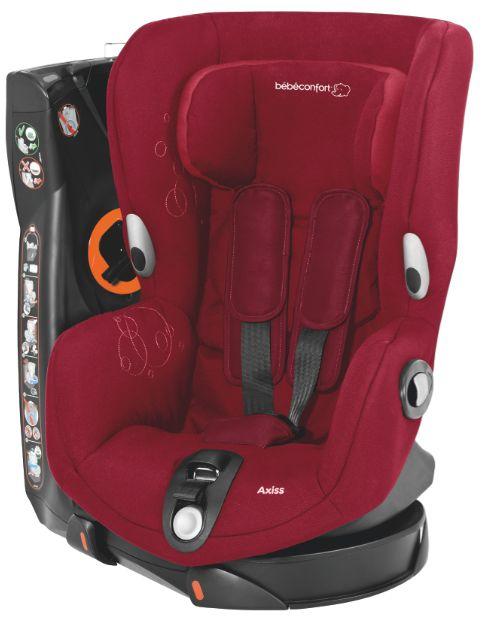 Axiss - Raspeberry Red - O que torna este produto único?  - 8 posições confortáveis, da sentada à semi-deitada - Cresce com o seu filho; arnês e apoio de cabeça ajustáveis  - O assento gira 90º para a esquerda e para a direita para que possa instalar a criança