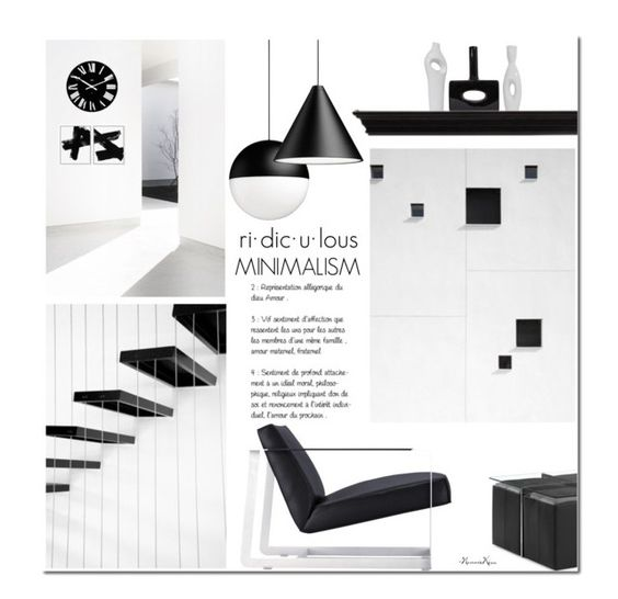 """Black & White M i n i m a l i s m"" by nonniekiss ❤ liked on Polyvore featuring interior, interiors, interior design, home, home decor, interior decorating, Modloft and Alessi"