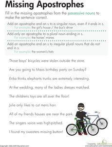 Nouns worksheet, Possessive nouns and Worksheets on Pinterest