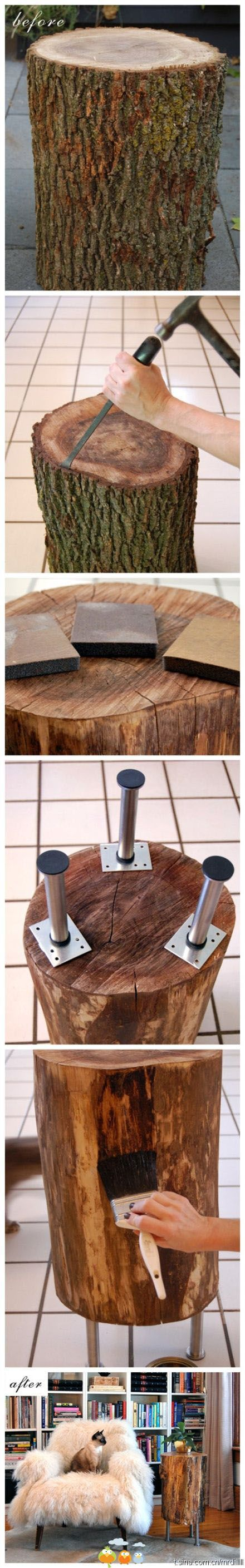DIY ~ Log End Table. Could be nightstand. Minus the legs