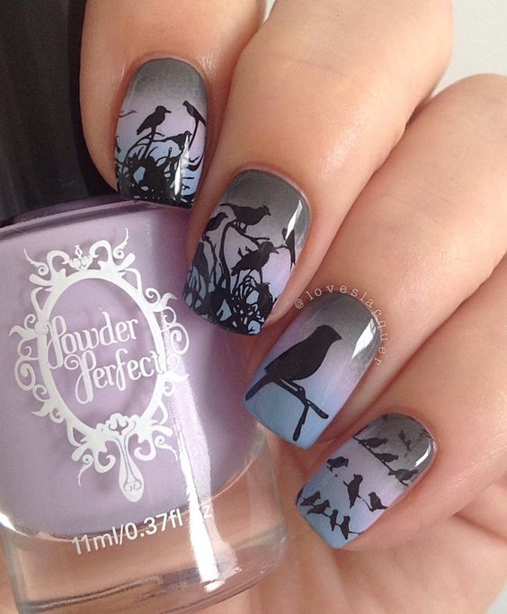 Birdy nail art by @Loveslacquer featuring Library Dust, Once Glorious & Crenellations!