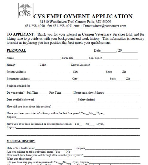 Cvs Pharmacy Job Application Form Pdf Printable Job Applications Job Application Template Job Application