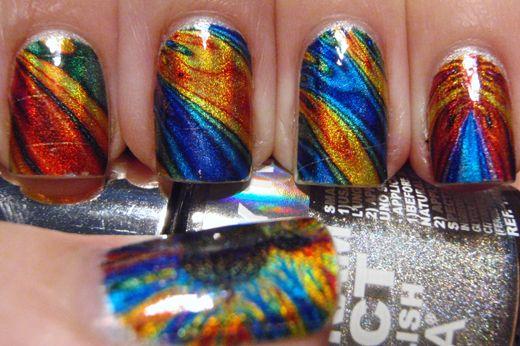 Mandelbrot set inspired tattoo nail art