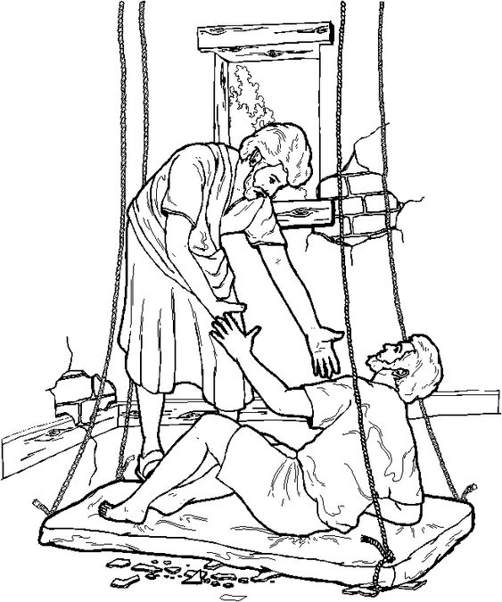Jesus heals the lame man coloring page
