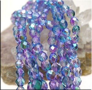 4mm Czech Fire Polished Beads, Coat Lavender AB