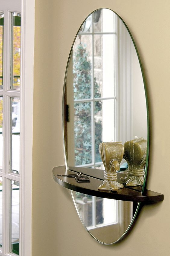 Small entryways entryway and mirror on pinterest for Hallway mirror and shelf