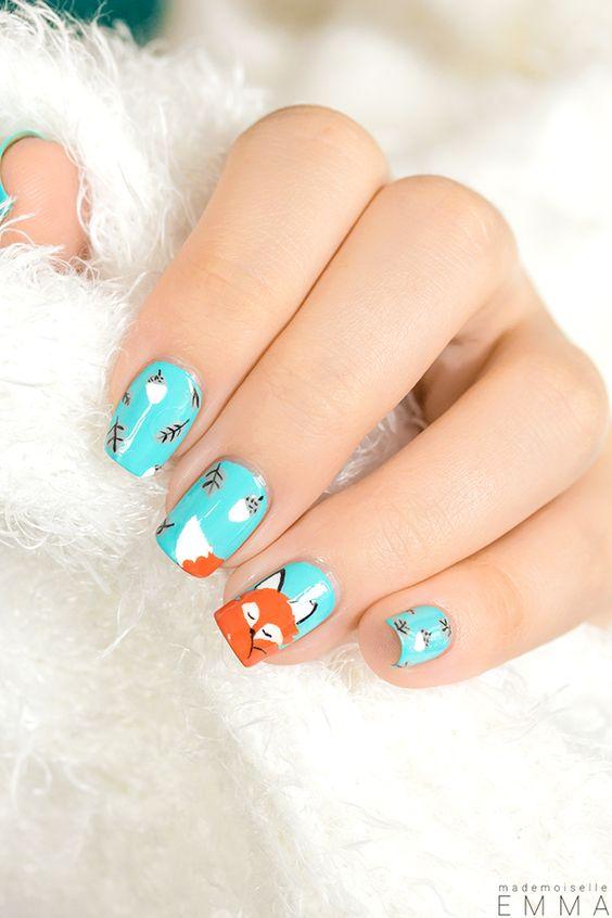 Rusty the fox nail polish tutorial: