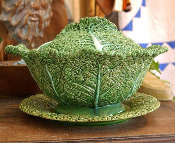 Vintage Majolica Cabbage Leaf Serving Bowl and Plate.: