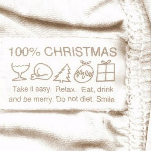 100% Christmas.  Take it easy.  Relax.  Eat.  Drink and be Merry.  Do not diet.  Smile.: