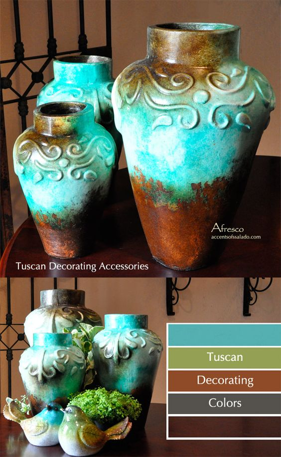 Mediterranean Blue Vases For Tuscan Decorating Tuscan