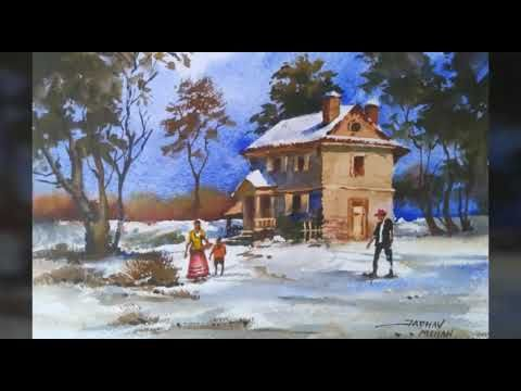 Water Colour Landscape Painting Of Old Stone House Youtube Landscape Paintings Colorful Landscape Watercolor Landscape
