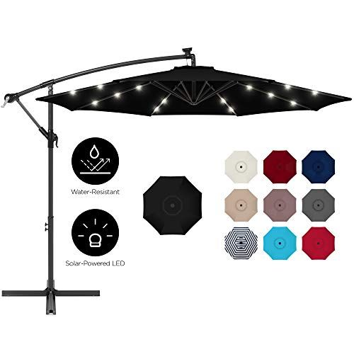 Best Choice Products 10ft Solar Led Offset Hanging Outdoor Market Patio Umbrella W Easy Tilt Adjustment Black Gift Options Showcase In 2020 Solar Led Umbrella Solar Cap