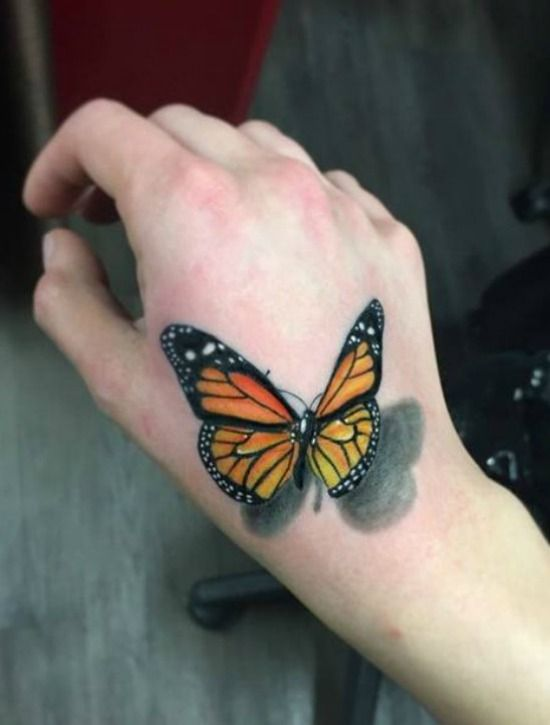 50 Gorgeous Butterfly Tattoos And Their Meanings You Ll Definitely Love With Images 3d Butterfly Tattoo Butterfly Hand Tattoo Butterfly Tattoo